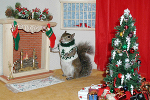 Sugar Bush Squirrel - Holiday by Fireplace