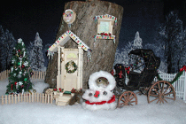 sugar bush squirrel home for the holidays tree trunk house and carriage